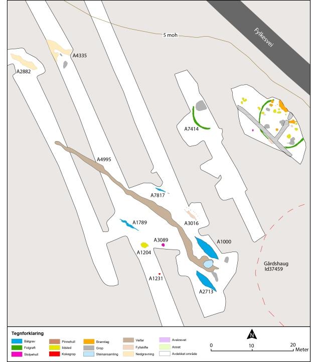 Figur 10 Bitterstad - oversiktskart strukturer med gårdshaug